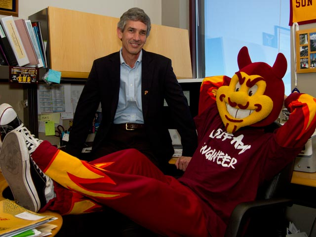 Dean Paul Johnson with Sparky the Sun Devil