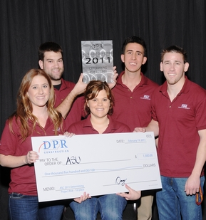 The team of ASU students (left to right) Alexandra Taylor, Scott Carfi, Rebecca Freitas, Josh Mischung and Ian Kennedy took a first-place prize in a regional student construction management competition organized by the Associated Schools of Construction.