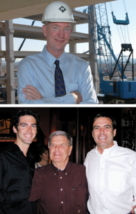 Business achievements, civic efforts and philanthropic contributions earned industry honors for two alumni of ASU's construction school. They are Ron Rodgers (top photo), former president of J.B. Rodgers Mechanical Contracting, and Mike Fann (bottom photo, at right) with son, Jason Fann (left), another ASU construction school graduate, and the late James L. Fann, in whose honor the family funded an ASU scholarship program