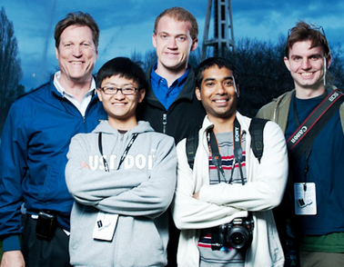 ASU's Team Note-Taker earned first place in the U.S. finals of the prestigious Microsoft Imagine Cup technology competition. From left to right are team mentor John Black, and team members Qian Yan, David Hayden, Shashank Srinivas and Michael Astrauskas. Photo: Courtesy of Microsoft.