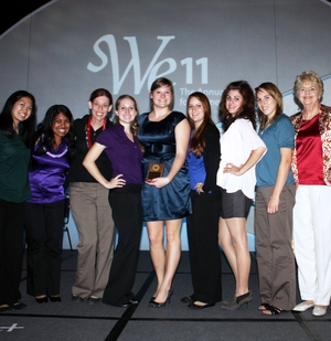 ASU Society of Women Engineers student section members were presented an award at the organization's national meeting recently in Chicago for their growing list of accomplishments.