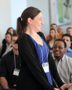 Tara Wright, biomedical engineering student in the Ira A. Fulton Schools of Engineering, stands for recognition as her team, BanglaEPICS Water Distribution Team, is announced as an Innovation Challenge finalist