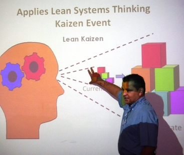 Gerardo Carranza gives a class presentation in a session of the Lean Six Sigma program. Photo provided by Cindy Beck