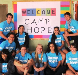 ASU students and recent graduates involved in Camp H.O.P.E are (front row, left to right) biology major Rini Parekh, nonprofit organization management majors Melissa Stein and Lindsay Mullins, biomedical engineering graduate Tina Hakimi, art major Natalie Saez, (middle row, left to right) biomedical engineering major Neil Saez, biochemistry major Monica Varela, and psychology major Nancy Valtierra (top row, left to right) business major Nicholas Johnson and biochemistry major Ryan Baker.