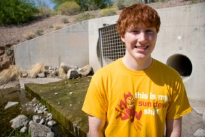 Chemical engineering major Jared Schoepf was part of a project team that helped engineer a way to enhance an urban plant and wildlife habitat. The team won both an Innovation Challenge award and a Community Changemaker award. (Photo: Blaine Coury/ASU)