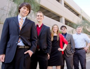 Members of the FlashFood team include (left to right): Jake Irvin, a marketing and sustainability graduate; Eric Lehnhardt, a biomedical engineering graduate; Katelyn Keberle, a materials science and engineering major; Steven Hernandez, a computer science graduate; and the team's faculty advisor Richard Filley. Photo by: Jessica Slater/ASU
