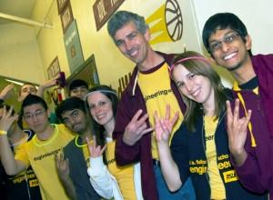 Paul Johnson and students flash pitchfork