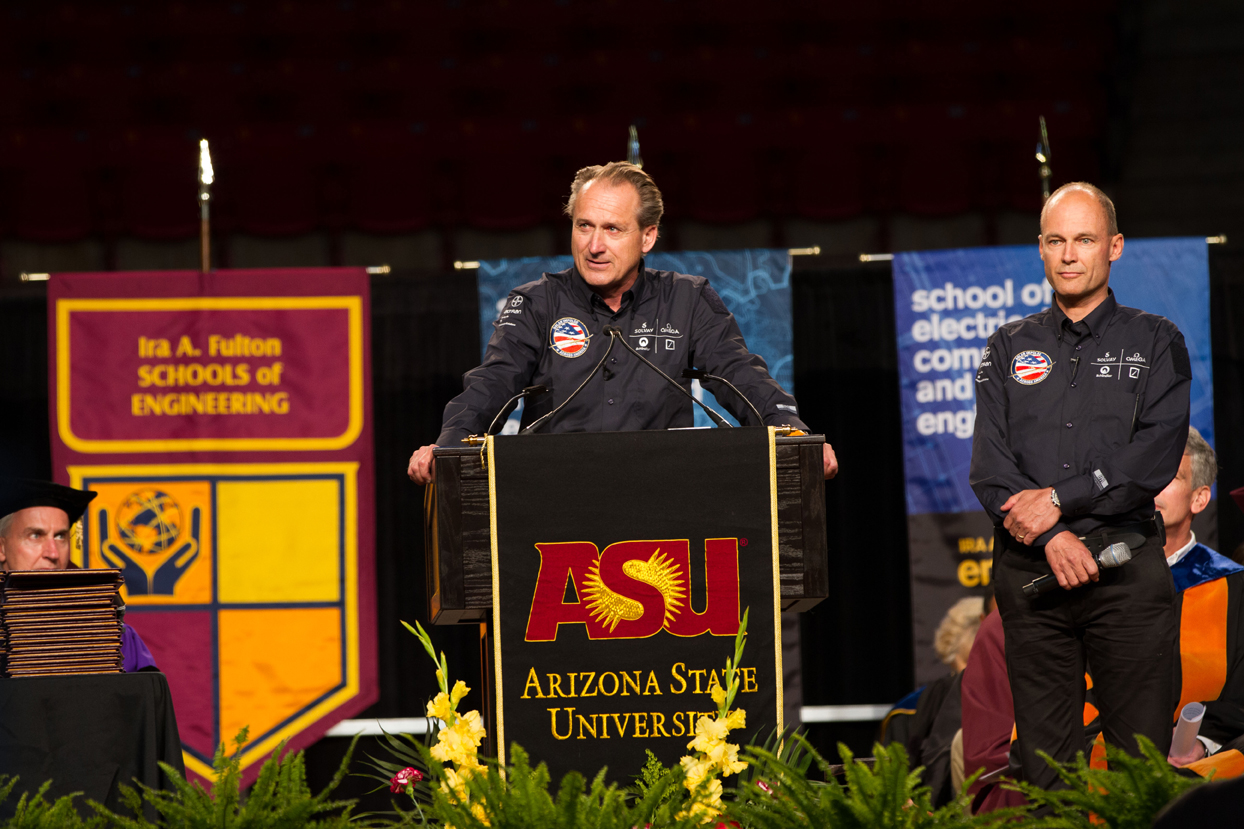 Solar plane pilots urge ASU engineering grads to embrace pioneering spirit