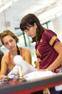 Undergraduate teaching assistant working in an introductory engineering course.