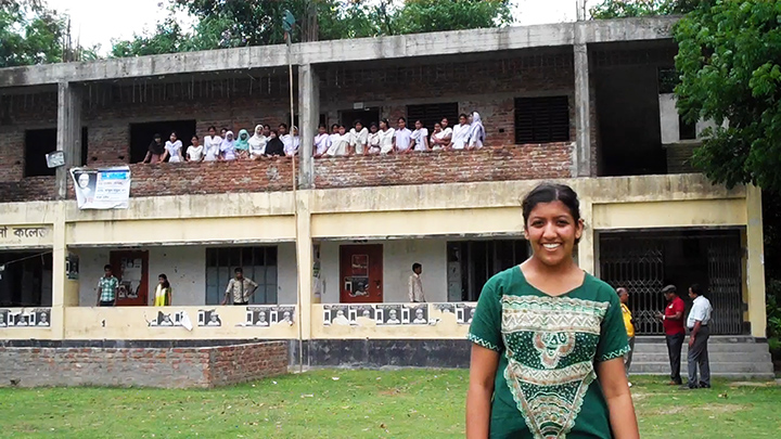 Shah pictured in Bangladesh during 33 Buckets' travels in the summer of 2012.