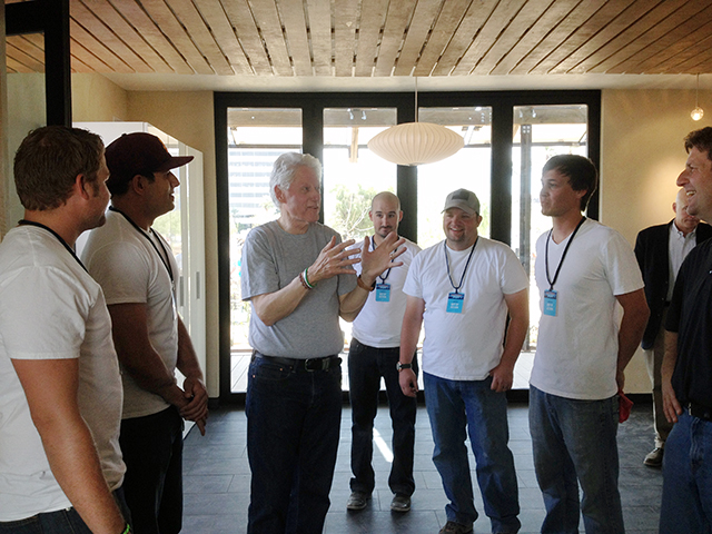 Pictured with former President Bill Clinton and Phoenix Mayor Greg Stanton (far right) at the solar house designed and built by Arizona State University and University of New Mexico students are (from left to right): ASU architecture graduate student Tyler Sternberg; Ali Abbaszadegan, an ASU architecture and landscape architecture graduate student; architect Philip Horton, a lecturer in The Design School at ASU; ASU architecture graduate student Jared Malone; and John Cribbs, who recently earned a master's degree in architecture at ASU. Photo courtesy of John Cribbs
