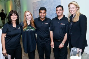 ASU's EcoCAR 3 team representatives at the announcement include, from left, Laurie Ralston, a lecturer in the graphic information technology program, Ashley Yost, EcoCar3 communications team student leader, Sushil Kumar, a graduate student in electrical engineering, and Abdel Mayyas, assistant professor of automotive engineering. They are pictured here with Kimberly DeClark, the competition's Communications and Logistics Manager at Argonne National Laboratory.