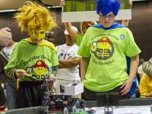 Members of the Everyday Heroes team from the Mesa Academy of Advanced Studies (pictured at the 2013 Arizona FIRST LEGO League state championship at ASU) also competed at the 2014 FIRST LEGO League World Festival in St. Louis. Photography by Jessica Hochreiter/ASU