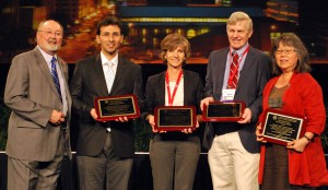American Society for Engineering Education president Ken Galloway (at far left) present  the award for best research paper in the Journal of Engineering Education to co-authors (left to right) Muhsin Meneske, Glenda Stump, Stephen Krause and Michilene Chi.