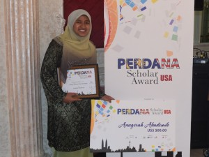 Hayda Abu Hasan recently was given a Perdana Scholar Award by Education Malaysia, which works with the Malaysian Embassy to promote higher education programs.