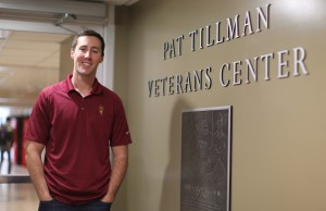 Evan Benson at the Pat Tillman Veterans Center, where he help process benefits for some of the 4,000 veterans on ASU's campuses. Photo by Judy Nichols