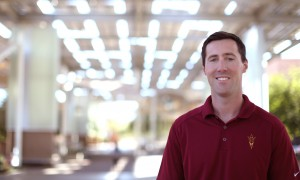 Evan Benson on the Arizona State University campus, where he is finishing his master's degree in civil engineering.  Photo by Judy Nichols