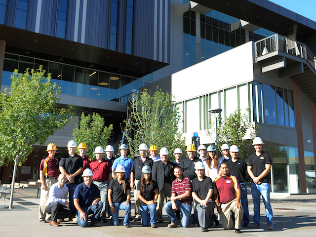 Dozens of Sun Devil alums worked on the College Avenue Commons project from site demolition and architectural drawings to framing and concrete finishings. Photographer: Tim Trumble