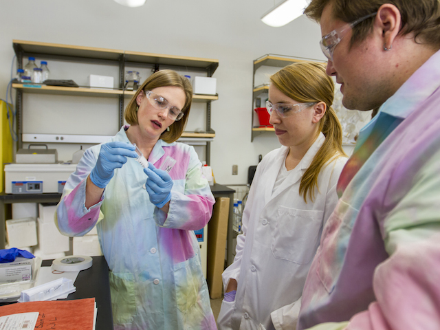 Sarah Stabenfeldt (left) is one of several of  faculty members in ASU's School of Biological and Health Systems Engineering who have been awarded research grants from the National Institutes of Health within the past year. Photographer: Jessica Hochreiter/ASU