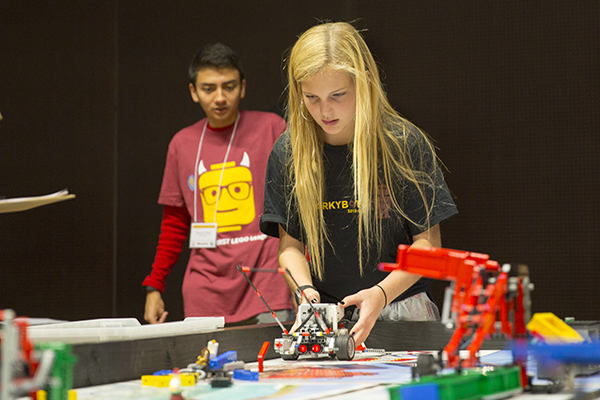 Student teams learn some of the basics of engineering, science and math by designing, building and programming small robots made from LEGO MINDSTORMS kits to compete in Arizona FIRST LEGO League tournaments. Photographer: Jessica Hochreiter/ASU.