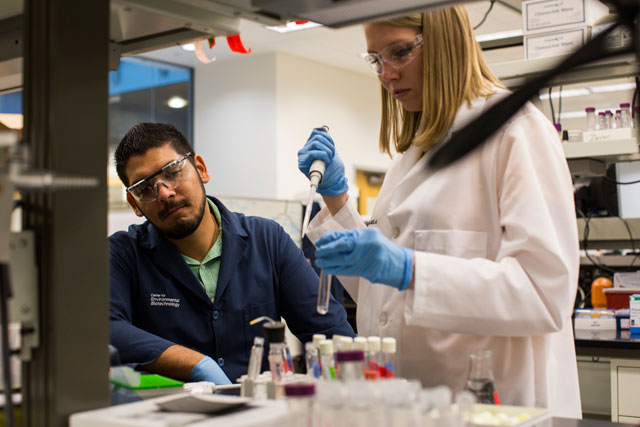 Chemical engineer César Torres leads the Torres Lab where students aid his research efforts to understand the diverse applications of microbial fuel cells. Photographer: Jessica Hochreiter/ASU