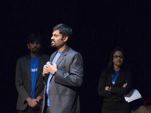 Yashwanth Kumar, a Fulton Schools alumnus, presents Unicorn, a medical device that delivers chest compressions to patients in cardiac arrest at the Spark Tank Live Pitch event, Feb. 4, 2016. Kumar presented the device on behalf of his team, Sential, which includes Fulton Schools alumnus Ranjani Sampath Kumaran and engineering graduate student Sanchit Chirana. Photographer: Pete Zrioka/ASU