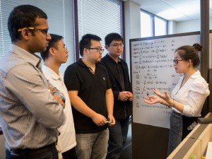 Jingrui He and her graduate students discuss their work