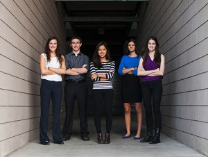 The Engineering Smiles team, left to right: Sara Mantlik, Nick Kemme, Christine Bui, Jackie Janssen and Fionnuala McPeake. Not pictured: Andrea Kemmerrer. For nearly three years the team has worked to design, build and deliver a mobile dental clinic to aid the non-profit organization IMAHelps on their missions to Central and South America. Photographer: Jessica Hochreiter/ASU