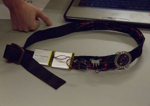 The Haptic Compass Belt was developed by undergraduate computer science students Dylan Ryland, Alejandra Torres and graduate software engineering student Dhanya Jacob.