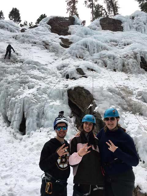 Biomedical engineering juniors Shawn Womack, Rene Reynolds and Shelby Martin (from left to right) show Sun Devil pride as volunteers at an ice climbing event hosted by Paradox Sports in Ouray, Colorado. Their experience will be the basis and inspiration for their upcoming senior year capstone project. Photo courtesy of Stephen Helms Tillery