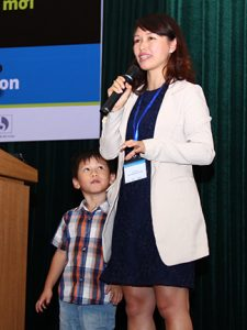 Keynote Speaker Ly Le, associate professor, School of Biotechnology, International University, Vietnam University, was joined by her son on stage while speaking about not having to choose between family and a STEM career.