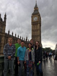 Nicole Gonzales, far right, pose for a photo in front of Elizabeth Tower, located at the Palace of Westminster in London. Photo courtesy of Nicole Gonzales