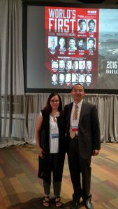 Lina Karam, an ASU electrical engineer and Chair of the IEEE ICIP Conference, and Haohong Wang, TCL Research America general manager and conference innovation chair, prepare to introduce keynote speakers during the Visual Innovation Program.