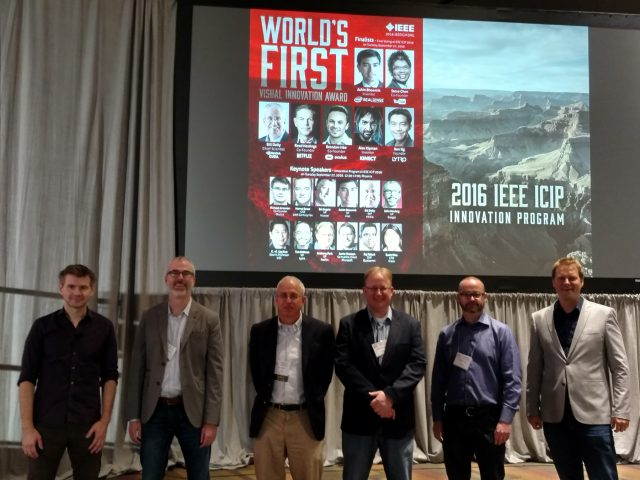 Not the usual suspects: Keynote speakers gather before the ICIP IEEE Innovation Program,. From left: Michael Antonov, co-founder, Oculus; John Harding, VP, Google; Bill Dally, SVP, nVIdia; Anthony Park, VP Netflix; Tim Million, VP, Lytro, and Jamie Shotton, co-inventor, Microsoft Kinect.