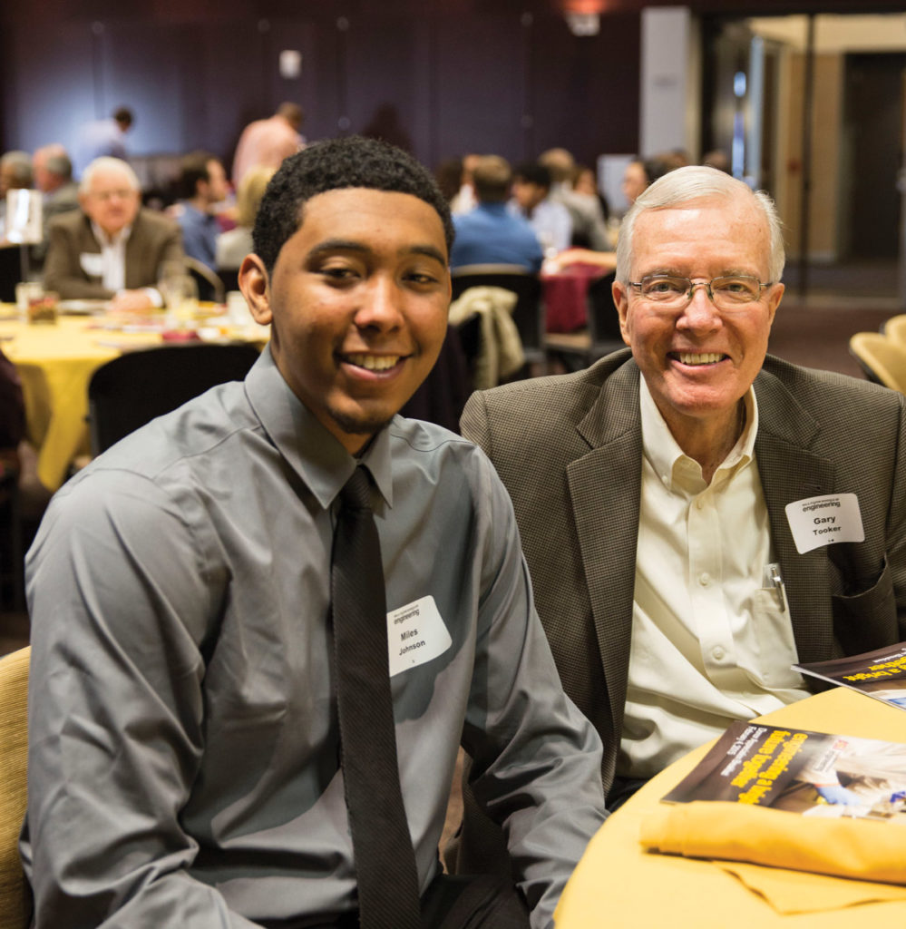 Miles Johnson and Gary Tooker at the annual donor breakfast.