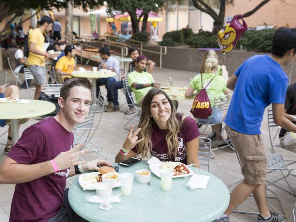 All that engineering, problem-solving and innovating can be hard work — so it's important to find time to grab a bite to eat. Photographer: Jessica Hochreiter/ASU