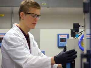 Christopher Balzer, the first ASU student to receive the prestigious Churchill Scholarship, works in chemical engineering Assistant Professor Bin Mu's lab on the Tempe campus. Balzer credits his research experience with Mu as a contributing factor to receiving the scholarship.