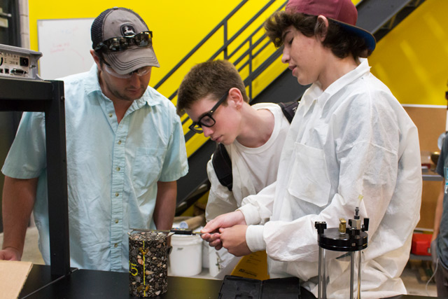 Students study the creation of asphalt as part of the free and week-long National Summer Transportation Institute, a program in the Fulton Schools Summer Academy.