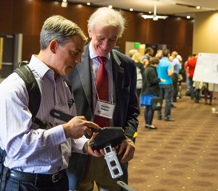 At the fifth annual Rehabilitative Robotics conference, researchers discussed advances in the field. Thomas Sugar (left), an ASU mechanical engineer, predicts that in the next five years the public will have access to wearable robotics. Neville Hogan, meanwhile, predicts widespread clinical acceptance in the near future.