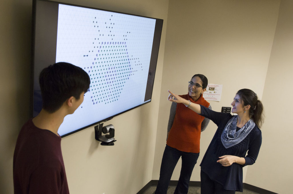 Daymude, Richa and Derakhshandeh view a computer simulation they developed to depict how their self-organizing particles can act together to form a coating over large surfaces.