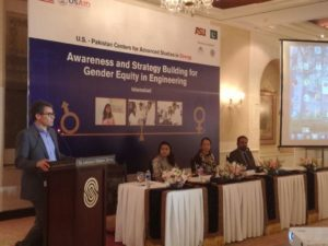 Cultural anthropologist Dr. Chad Haines of Arizona State University speaks on a panel about gender equity to an audience in Pakistan. Photographer: Hassan Zulfiqar/USPCAS-E