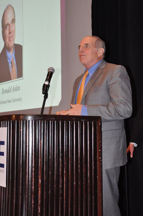 """Photo of Ron Askin speaking. Caption says """"Professor Ron Askin, former director of the School of Computing, Informatics, and Decisions Systems Engineering speaks to members of the Institute of Industrial and Systems Engineers at the society's annual awards gala May 22. Photo courtesy of IISE"""""""