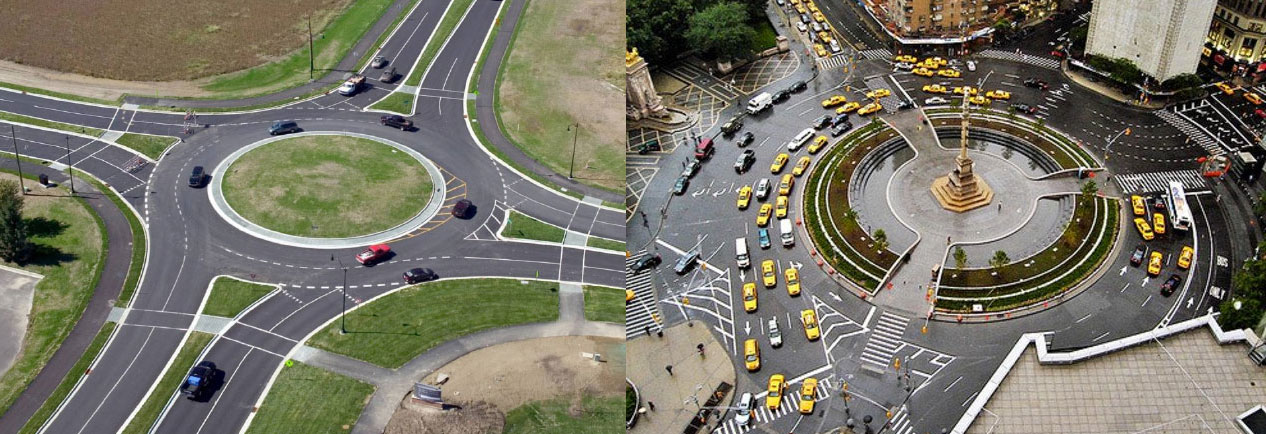 Photos of a modern roundabout and an older style rotary or traffic circle for comparison.