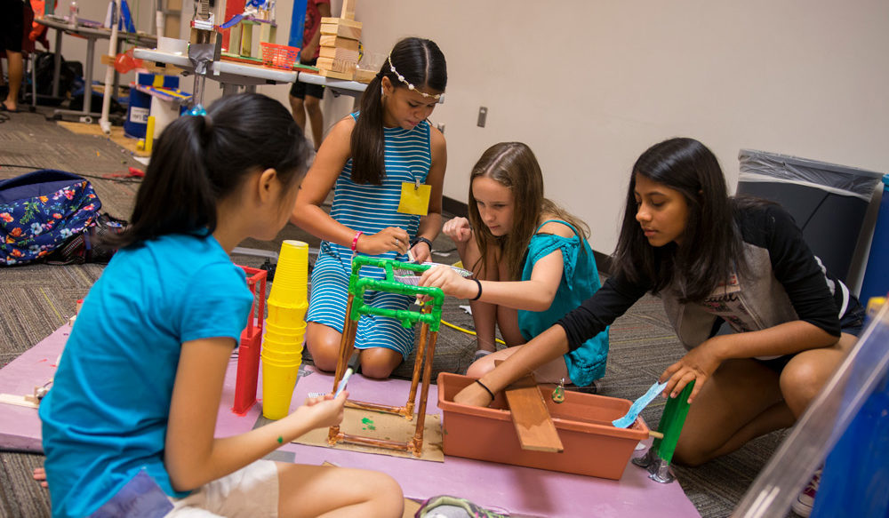 Rube Goldberg-style chain-reaction machines abounded at the Art of Invention: Chain-Reaction STEAM Machines for Middle Schoolers at the ASU Chandler Innovation Center.