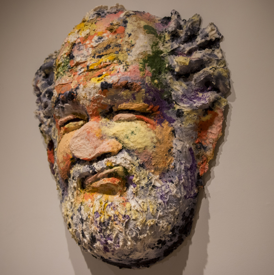 Photo of a sculpture of a man's face. Caption: Works in the exhibit provide examples of the ways in which artists' images reflect how human neurological factors and geometric perspective can shape our visual experience of objects. Photographer: Marco-Alexis Chaira/ASU