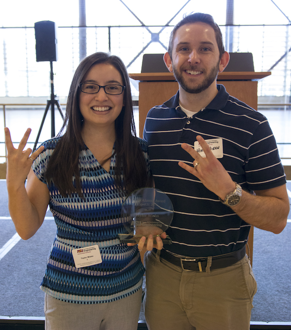 Photo of Taylor Wiehn and her husband Michael. Caption: Taylor Wiehn and her husband, Michael, show off their Sun Devil pride at the Spring 2017 FURI Luncheon on April 21, 2017. The pair of chemical engineers met during their first week at ASU, and Wiehn credits the support of her husband, along with that of her family, as contributing factors to the award. Marco Alexis-Chaira/ASU