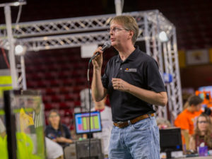 Dean Kyle Squires speaks at the opening ceremony of the FIRST Robotics Competition Arizona State Championship at Wells Fargo Arena.