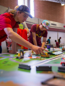 Students demonstrate FIRST LEGO League projects at Wells Fargo Arena in October 2017.