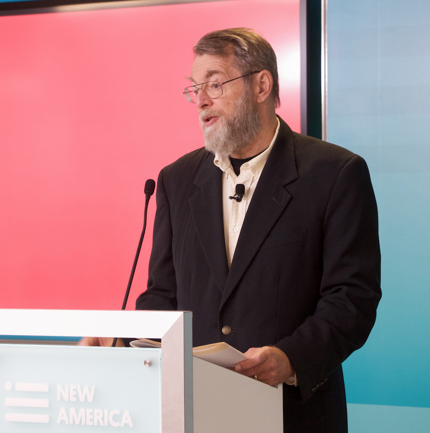 Photo of Brad Allenby speaking behind a lectern. Caption: Professor Brad Allenby is a co-chair of ASU's new Moral Injury Initiative. He joined colleagues in presenting the project's goals at a recent conference that brought together researchers, military officials and public policy think tank leaders in Washington, D.C. Photograph courtesy of New America.