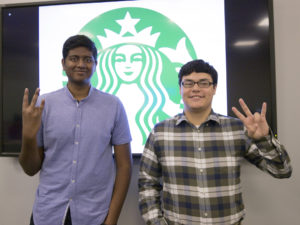 Starbucks Business Intelligence team members show their Sun Devil spirt during following their end-of-semester presentations.